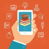 Vector online education concept  — Stock Vector