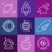 Vector cosmic signs and line icons — Stock Vector