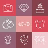 Vector wedding and engagement line logos and icons — Stockvektor