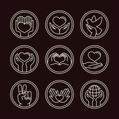Vector love and care round emblems in linear style — Stok Vektör