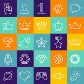 Vector set of linear game icons — Stock Vector