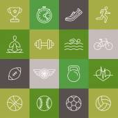 Vector linear sport and fitness icons and signs — Stok Vektör