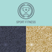 Vector sport badge and seamless pattern — Stock Vector