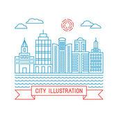 直线型矢量城市插画 — 图库矢量图片