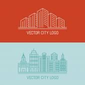 Vector linear city logo concepts — Stock Vector