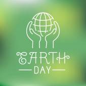 Vector earth day logo in linear style — Stock Vector