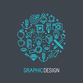 Vector linear graphic design concept — Vettoriale Stock