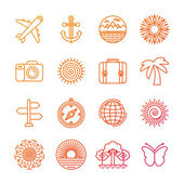 Vector set of linear icons related to summer — Stock Vector