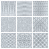 Vector set of simple mono line patterns — Stock Vector