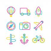 Vector travel and transportation icons — Stock Vector