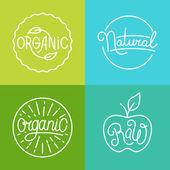 Vector labels in trendy mono line style - premium quality organi — Stock Vector