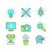 Vector set of linear icons in trendy style — Stock Vector