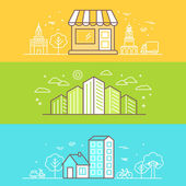 Linear Buildings Icons — Stock Vector