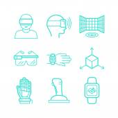 Vector set of icons in trendy linear style  — Stock Vector