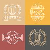 Vector craft beer and brewery logos — Stock Vector