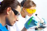 Two researchers in the lab — Stock Photo