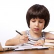 Schoolboy does his homework — Stock Photo #60528147