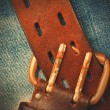 Unfastened old leather belt with vintage buckles — Stock Photo #62531955