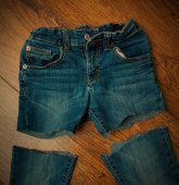 Cut old jeans — Stock Photo