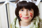 Boy in a American Indian image — Stock Photo