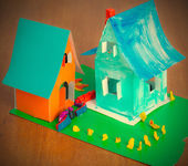 Toy cardboard houses — Foto Stock