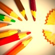 Set of a old colored pencils with shavings — Stock Photo #65343873