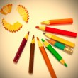 Set of a old colored pencils with shavings — Stock Photo #65343905