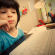 Distance learning, preschool child with computer — Stock Photo #66019147