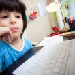 Distance learning, preschool child with computer — Stock Photo #67196471