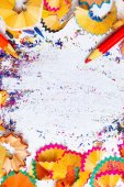 Colored pencil shavings and copy space — Stock Photo
