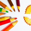 Set of a old colored pencils with shavings — Stock Photo #67838853