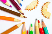 Vintage colored pencils with chips — Stockfoto