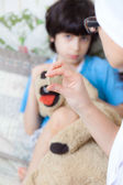 Doctor with pill and boy — Stock Photo