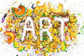 Art word on the background of pencil shavings — Stock Photo