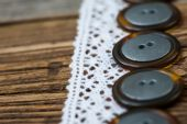 Vintage lace ribbons and buttons set — Stock Photo