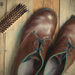 Vintage boots brush and shoe polish — Stock Photo #73397095