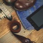 Traveler set with a leather belt, digitizer, rangefinder camera, — Stock Photo #73980931