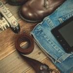 Set of traveler with a digitizer, leather belt, rangefinder came — Stock Photo #74763583