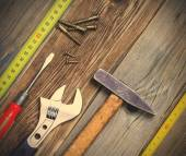 Still life with vintage locksmith tools — Stock Photo
