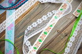 Set of vintage lace, tape and ribbons — Stock Photo