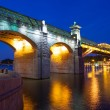 Night landscape with covered bridge Andreevsky, Moscow, Russia — Stock Photo #75767833