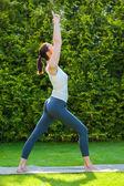 Beautiful woman doing yoga — Stock Photo