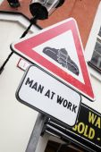 Man at work sign — Stock Photo
