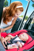 Baby seats in the car seat — Stock Photo