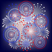 Fireworks in colors of usa flag — Stock Vector
