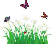 Vector flower, grass, butterfly and ladybird — Vector de stock
