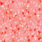 Pink shiny seamless background with hearts — Stock Vector
