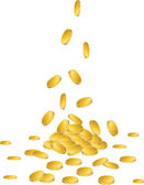 Gold coins falling to the ground — Stock Vector