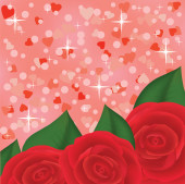 Red roses on pink shiny background with hearts — Διανυσματικό Αρχείο