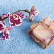 Spa stones, soap and pink orchid — Stock Photo #55628791